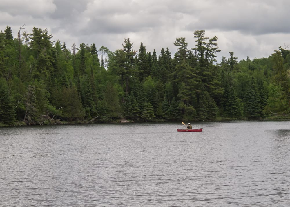 hunt lake trail red canoe on lake